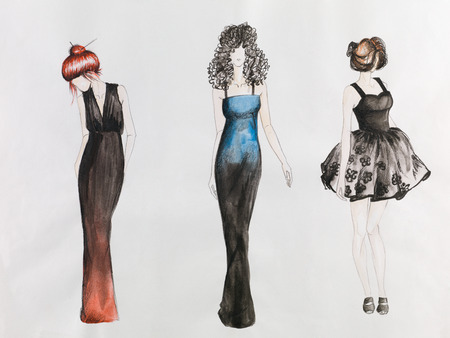 nude fashion model: hand drawn fashion sketch. women in colored evening gowns. watercolor and pencil drawing Stock Photo