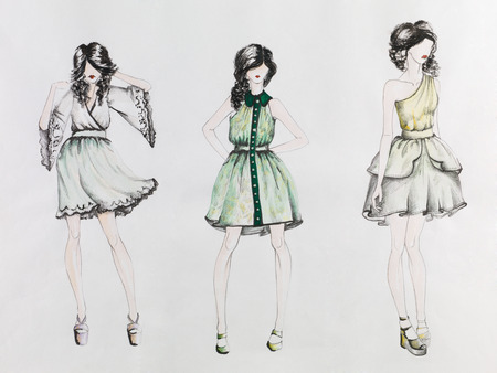 woman sketch: hand drawn fashion sketch with models  wearing colored short dresses, on white paper
