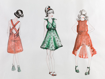 hand drawn illustration of fashion models wearing dresses on catwalk