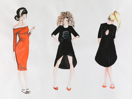 fashion sketch with models wearing dresses, on white paper