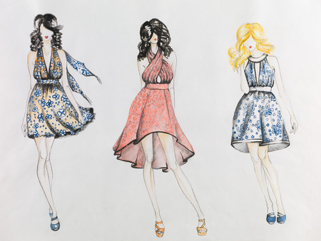 fashion sketch with models  wearing colored dresses with flower patterns Stock Photo