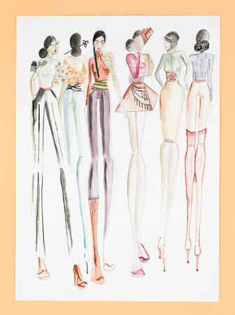 hand drawn sketch of fashion models in colored haute couture designs