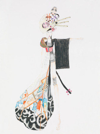 hand drawn fashion sketch inspired by japanese culture
