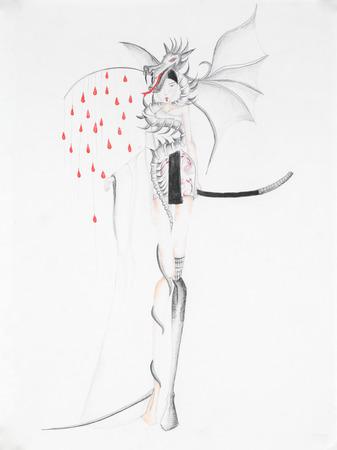 extravagant: extravagant japanese fashion design. hand drawn illustration