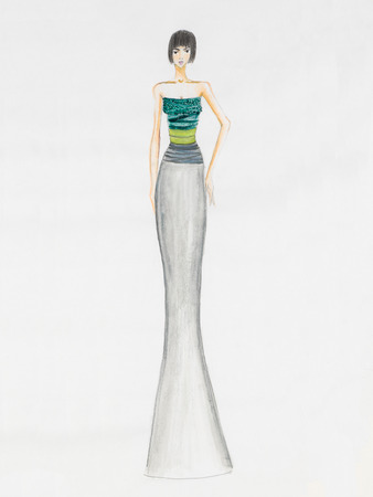 colorful dress: fashion sketch. ethereal cocktail dress with colorful upper part