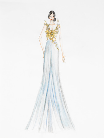 evening gown: fashion design drawing. luxurious evening gown