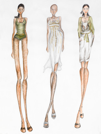 fashion design sketch. summer trends Stock Photo