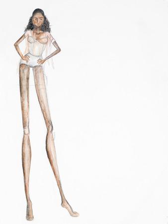 mannequin africain: main croquis dessiné de mannequin sexy. copie espace disponible