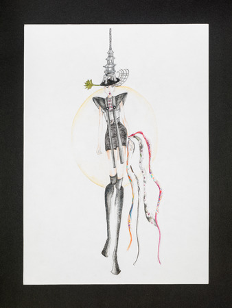 hand drawn fashion design sketch inspired by japanese culture