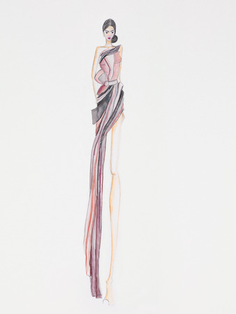 designer clothes: fashion illustration of haute couture evening gown design Stock Photo