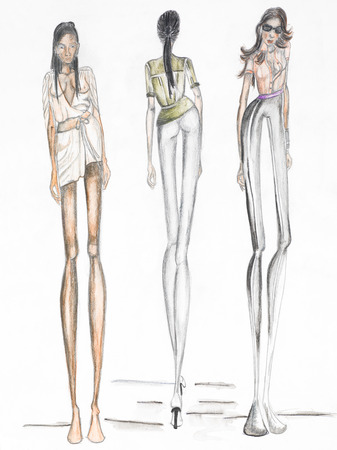 catwalk: group of female models on the catwalk. fashion sketch Stock Photo