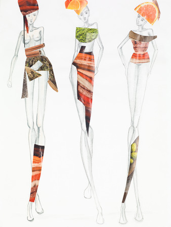 sketch out: pencil sketch with models wearing clothing made out of fruits and patterns cutout from magazines. fashion collage