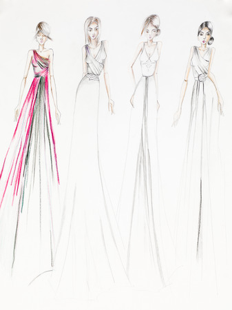 evening gowns: hand drawn illustration of evening gowns fashion design