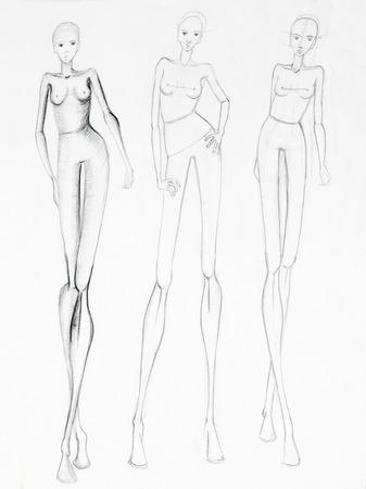 naakt vrouwen: mode schets van mooie slanke naakt vrouwen silhouetten. potloodtekening Stockfoto