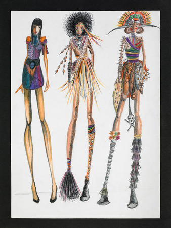 freehand tradition: hand drawn illustration of fashion models wearing tribal inspired creations Stock Photo