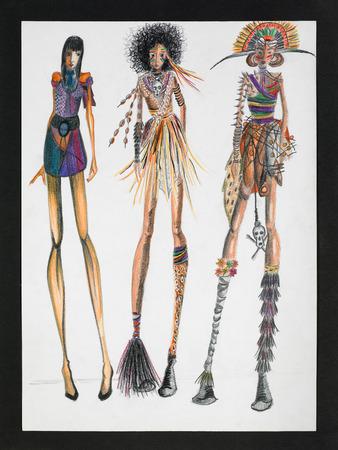 mannequin africain: illustration main dessiné des mannequins portant des créations inspirées tribales