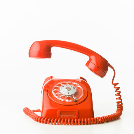 closeup of red vintage phone ringing, isolated on white background 版權商用圖片 - 39038300