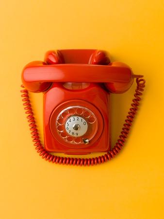 upper view of red vintage phone on blue background 版權商用圖片 - 39045068