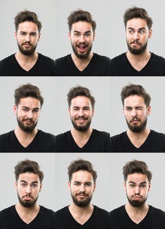 gestos de la cara: hombre joven con diferentes expresiones faciales. imagen compuesta digitales
