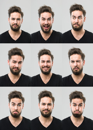 facial: young man with different facial expressions. digital composite image