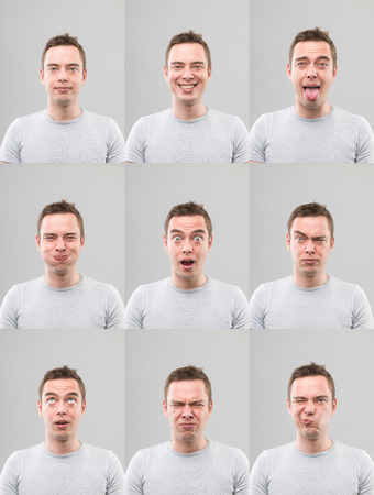 limpieza de cutis: hombre joven con diferentes expresiones faciales. imagen compuesta digitales