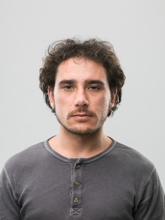 man front view: front view of caucasian man with blank expression. real people portrait