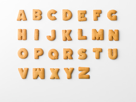 cookie letter alphabet on white background Stok Fotoğraf
