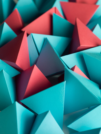 abstract wallpaper consisting of multicolored pyramids Stock Photo