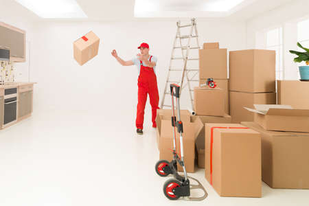 deliveryman: deliveryman unloading cardboard boxes into new house