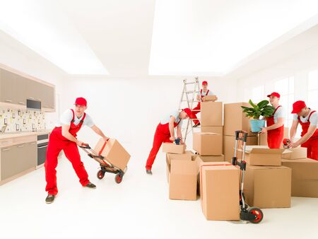 composite image: delivery man at work, delivering cargo to new house. digital composite image Stock Photo