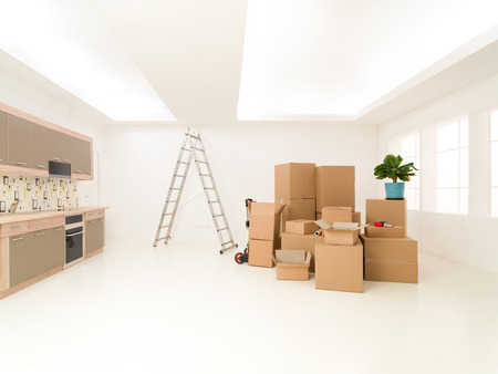 homeownership: bunch of cardboard boxes stacked in new house. copy space available