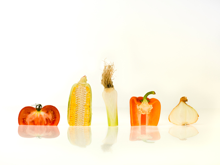 sectioned: sectioned vegetables on white background Stock Photo