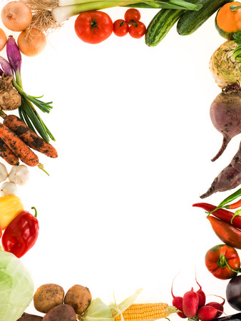 vege: frame of healthy vegetables organic radish sprouts corn zucchini onion pepper potato carrot garlic white background