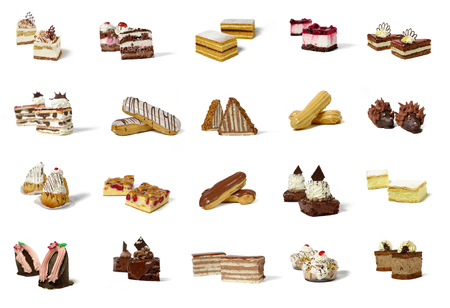 rum baba: array of twenty different types of pastry products, grouped in twos, on a white background