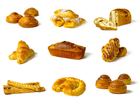 different types of baked goods isolated