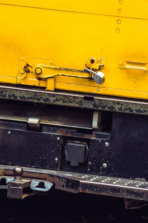 transported: Shipment is transported by the truck safely padlocked Stock Photo