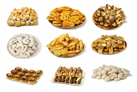 array of nine groups of different types of sweet and salty baked goods, arranged on plates, on a white background