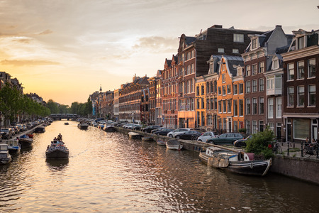prinsengracht: Amsterdam The Netherlands - June 12: Prinsengracht canal a beautiful sunset on June 12, 2015.