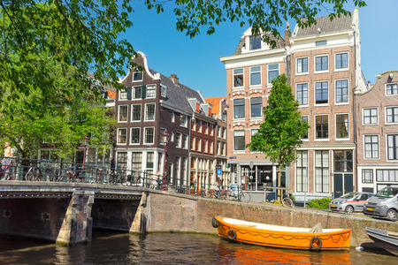 prinsengracht: Amsterdam The Netherlands - June 11: Reestraat bridge with Prinsengracht intersection on June 11, 2015.