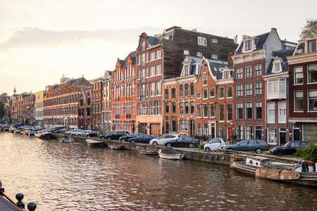 prinsengracht: Amsterdam - June 12: Prinsengracht canal a beautiful sunset on June 12, 2015 Editorial