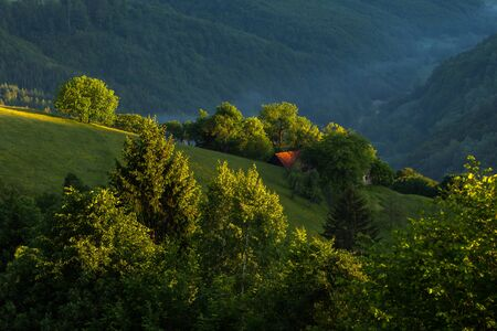 ravishing: therapeutic image of the Romanian hills, close to Brasov city, and morning blaze