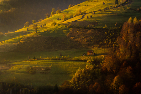 drab: beautiful rural landscape in the morning at sunrise, a broad picture of a sparse village