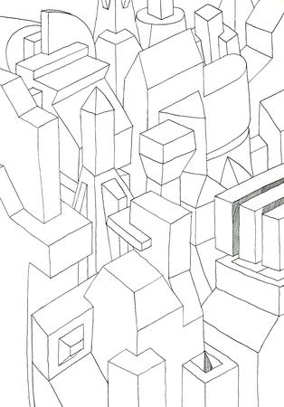casale: disegno ad inchiostro con le forme in bianco e nero, pareti, parte di una città