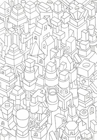 amalgam: geometric forms drawn in pencil or ink, jam of forms and meanings in a city