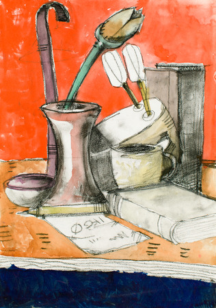 single color image: water colour illustration with home staff all being on a table with an orange wall Stock Photo