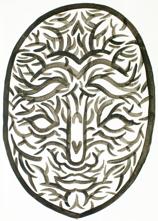 entity: water colour mask illustration showing a human face expression, combined with nature signs