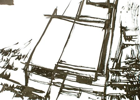 brows: black ink painting, architecture and lines, nature around