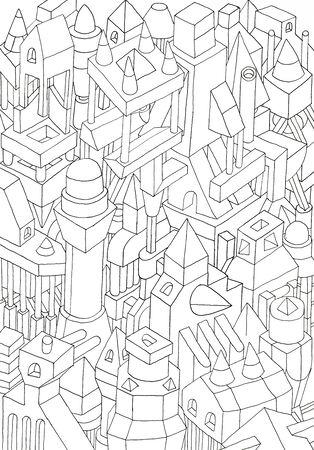 spectre: geometric forms drawn in pencil or ink on cartoon, jam of forms and meanings in a city, jam of forms and meanings in a city Stock Photo
