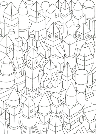 spectre: geometric forms drawn in pencil, ink on cartoon, jam of forms and meanings in a city Stock Photo