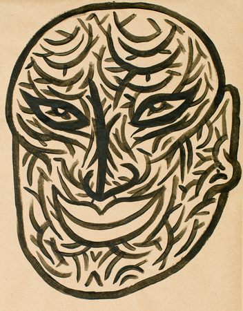 the human face: water colour mask illustration showing a human face expression